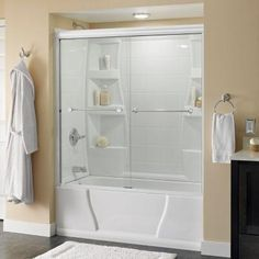 Traditional Semi Frameless Sliding Tub Door In White With Chrome Handle Clear Gl