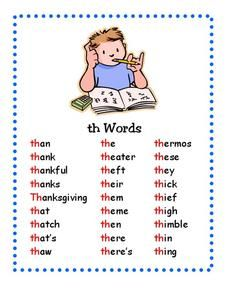 """This """"Th"""" Words Printables & Template is suitable for Kindergarten - Grade. That is a great word because it starts with the th sound. There are so many words that start with the consonant digraph th. Kindergarten Reading Activities, Phonics Reading, Teaching Phonics, Teaching Reading, Reading Skills, Learning, English Words, English Lessons, Learn English"""