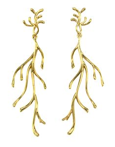Pendientes dorados, pendientes largos, pendientes planta, pendientes grandes, pendientes de oro, pendientes elegantes, pendientes para boda, pendientes de boda, pendientes con movimiento.  Joyas Coolook