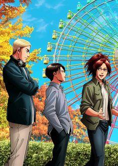 Erwin, Levi and Hanji Anime Ai, Fanarts Anime, Attack On Titan Funny, Attack On Titan Fanart, Eren, Hanji And Levi, Attack On Titan Aesthetic, Anime Friendship, Familia Anime