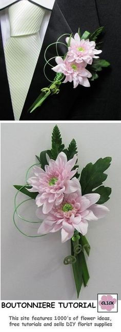 FREE TUTORIALS http://www.wedding-flowers-and-reception-ideas.com/make-your-own-wedding.html Make Your Own Wedding Boutonniere. Easy step by step photo instructions for daisies or mums. Buy the professional florist supplies needed for DIY wedding flowers.