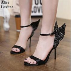 2017 NEW Women Colorful Butterfly Heeled Sandals 11.5cm ladies Pumps Thin  Heel Peep Toe Shoes ankle strap Wedding Bridal heels-in Women s Sandals  from Shoes ... 45d2492268e0