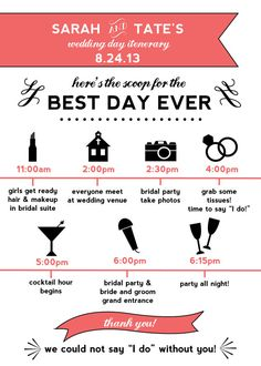 Printable Wedding Day Itinerary Card for Wedding by OhDarlingPaper, $28.00