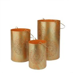 Set of 3 Orange and Gold Decorative Floral Cut-Out Pillar Candle Lanterns 10 inch