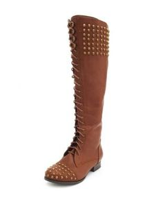 Studded Knee-High Combat Boot - Buy 1 Get 1 for $15