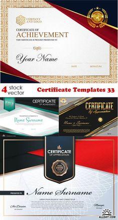 Vectors - Certificate Templates 33 Certificate Of Appreciation, Certificate Of Achievement, Award Certificates, Certificate Background, Certificate Design Template, Event Management, Illustrators, Designer Radiator, Presents