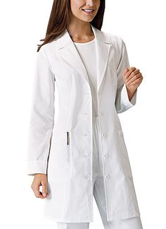 3/4 Sleeve Lab Coat in White A 29&quot button front lab-coat is edged