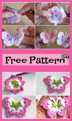 Diy Crafts - freepattern,butterfly-Pretty Crochet Butterflies - Free Pattern crochetflowers La Magia Crochet Butterfly Free Pattern freepattern but Crochet Butterfly Free Pattern, Crochet Puff Flower, Crochet Flower Patterns, Crochet Designs, Crochet Flowers, Knit Patterns, Diy Crafts Crochet, Crochet Gifts, Crochet Projects