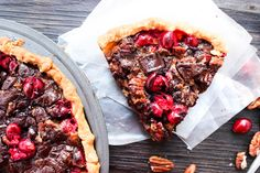 Chocolate Pecan Cranberry Pie will be a sweet addition to your holiday pie table.