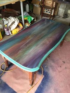 Just a Coffee Table? No Way – This is Art. just a coffee table no way this is art spitchallenge, painted furniture, Stain the Edges – Mobilier de Salon Funky Furniture, Refurbished Furniture, Paint Furniture, Repurposed Furniture, Furniture Projects, Furniture Makeover, Furniture Design, Furniture Stores, Cheap Furniture