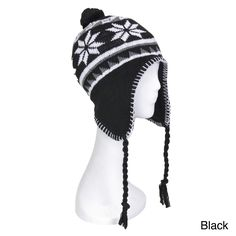 57e1fa10c47 This retro snowflake patterned beanie hat is great for all cold weather  activities. Keep warm