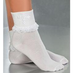 First Communion Socks w/ Venise & Pearl Cross   The Catholic Company