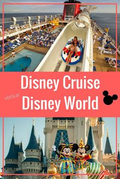 Disney Cruise vs Disney World- Which to Choose and Why: Disney Cruise vs Disney World, have you ever wondered which of the two Disney Vacations would be right for your family? Disney Cruise Tips, Disney Vacation Club, Walt Disney World Vacations, Best Cruise, Cruise Vacation, Vacation Ideas, Family Vacations, Cruise Trips, Cruise Destinations