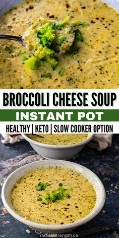 Cauliflower Cheese Soups, Keto Broccoli Cheese Soup, Cream Of Broccoli Soup, Healthy Dinner Recipes, Real Food Recipes, Cooking Recipes, Delicious Recipes, Easy Recipes, Pressure Cooker Recipes