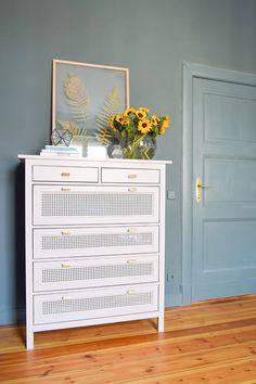 Hemnes Dresser With Cane Webbing - Easy Ikea Hack Update your Ikea Hemnes Dresser with cane webbing! This easy Ikea hack will transform your dresser and is easy and affordable, too! Ikea Furniture Hacks, Cane Furniture, Furniture Projects, Ikea Bedroom Furniture, Funky Furniture, Plywood Furniture, Furniture Stores, Furniture Design, Repurposed Furniture