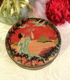 Beautiful Shabby Romantic Vintage Tin Box, Lady with Birds, Art Nouveau, Pink Red, Cottage Chic, Boho Décor, Vintage Vanity, French Box