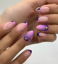 Top 50 photos of purple short nails to look cool Short Almond Nails, Short Gel Nails, Almond Nails Designs, Nail Art Designs, Manicure, City Nails, Maila, Round Nails, Nagel Gel