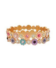 Rhinestoned Flower Bracelet   Set