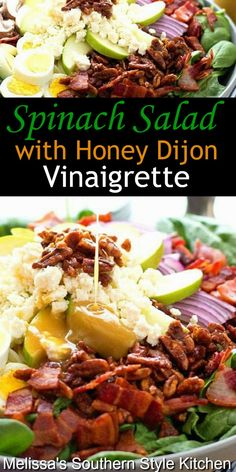 Enjoy this fresh Spinach Salad with Honey Dijon Vinaigrette as a side dish or an entree Spinach Salad Recipes, Best Salad Recipes, Vegetarian Recipes, Cooking Recipes, Healthy Recipes, Salad With Spinach, Yummy Recipes, Vinaigrette Salad Dressing, Salad Dressing Recipes
