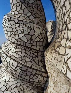 Gaudi's spiral forms, covered with mosaics - La Pedrera, (Casa Mila), 1906
