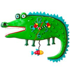 """SNAP SNAP goes this alligator .... or is it a crocodile... wall clock. Original design by Artist Michelle Allen. Cast in resin, finished by hand mechanism warranted for two years, requires """"AA"""" battery. Pendulum swings back and forth... wall hangs."""