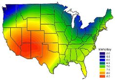 Map of total sun hours per day across the United States. The areas in red, orange and yellow are the primary targets for off-grid solar generation. Solar Energy Panels, Best Solar Panels, Solar Energy System, Solar Power Cost, Passive Solar Homes, Solar Roof Tiles, Off Grid Solar, Solar Water Heater, Green Technology