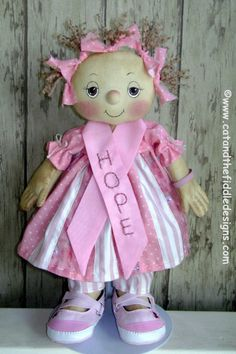 *BREAST CANCER AWARENESS ~ CF247 HOPE - PDF ePattern Cloth Doll Pattern.