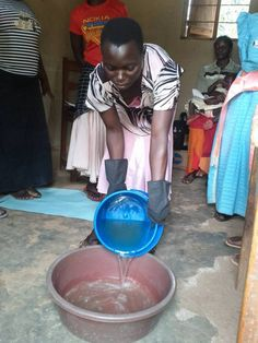 Gertrude working to make and recycle soap. (Photo credit: Sundara)