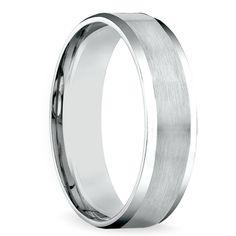 Carved Beveled Men's Wedding Ring in White Gold | Image 02