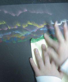 Chalk Rubbing with a Guide – 5th grade art students Dennis Jordan
