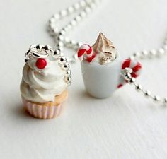 Cupcake & cappuccino necklaces,  best friends