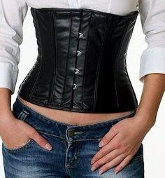 Black leather waist corset