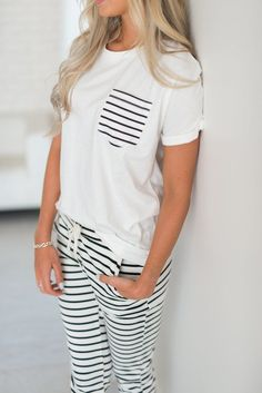 Stripe Pocket Tee This entire outfit looks so cute and cute! Cute Sleepwear, Loungewear, Pijamas Women, Cute Lazy Outfits, Pyjamas, Pajama Outfits, Womens Pyjama Sets, Cute Pajamas, Comfy Pajamas