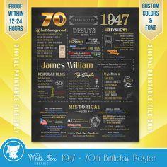 70ste verjaardag geschenk, gepersonaliseerd 70e verjaardag Poster, 70e verjaardag 1947, 1947 verjaardag, 1947 geboortejaar - digitale afdrukbare downloaden DEZE AANBIEDING IS VOOR EEN DIGITALE DOWNLOADBESTAND-GEEN FYSIEKE PRINT WORDT TOEGEZONDEN.