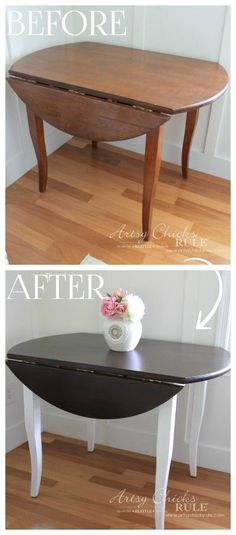 Update Wood Furniture Minwax PolyShades and Chalk Paint - Before and After - artsychicksrule.com #polyshades #minwax #chalkpaint