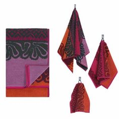 Rich hues of magenta, orange and maroon exude the warmth you want after a shower, making Maija Isola's 1960 pattern as pretty as ever. Marimekko Käspaikka Towels - $8.50-$55