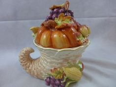 Ceramic Cookie Jar Cornucopia Woven Basket Fall Harvest Fruits & Veggies New