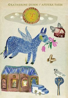 3 Art Cards of Donkey and New Beginnings by katherinedunn on Etsy, $12.00