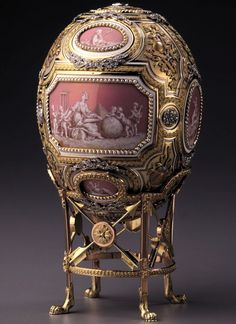 Catherine the Great Egg (or Grisaille Egg, or Cameo Egg)    Date 1914    Provenance Presented by Nicholas II to Dowager Empress Maria Fyodorovna    Made in St. Petersburg