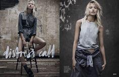 martha hunt model1 Martha Hunt Poses in Denim for Adam Franzino in Elle Australia Shoot