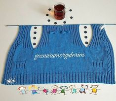 This Pin was discovered by gül Baby Boy Knitting Patterns, Baby Patterns, Crochet For Kids, Knit Crochet, Knitted Baby Clothes, Baby Vest, Knitwear Fashion, Jacket Pattern, Easy Knitting