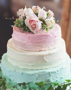 Simply gorgeous!  Pastel colored wedding cake using textured buttercream frosting