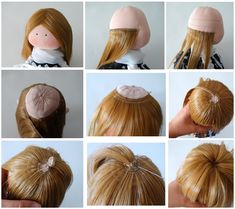 Rag dolls tutorial how to make How to give a rag doll hair.dolls reborn realistic Click Visit link above to see more - Caring For Your Collectable Dolls. Fabric Doll Pattern, Fabric Dolls, Doll Wigs, Doll Hair, Doll Crafts, Diy Doll, Rag Doll Tutorial, Homemade Dolls, Sewing Dolls