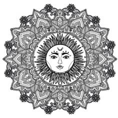 coloring page mandala sun 123rf