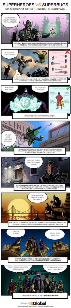 Comic: Superheroes vs Superbugs. Superwisdom to fight antibiotic resistance
