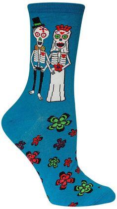 Dia de los Muertos skeletons in love. Fits women's shoe size 5-10.