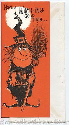 "Vintage Halloween Greeting Card ~ Gibson Witch ""Have a Witch-ing Good Time. Vintage Halloween Cards, Vintage Halloween Decorations, Retro Halloween, Halloween Prints, Halloween Pictures, Scary Halloween, Halloween Illustration, Vintage Greeting Cards, Happy Halloweenie"