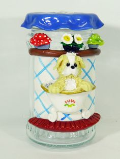 Pote para Algodão ou Cotonete Decorated Jars, Snow Globes, Biscuit, Home Decor, Decorating Jars, Cotton Swab, Jars, Mason Jars, Decoration Home