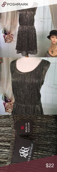 "Rock & Republic Black Metallic Party Dress Very beautiful metallic sleeveless dress with a built in black slip. Perfect for a party! Pair is with some pretty jewelry. New condition. Size M. Bust is 36 and length is 34"". DR22 Rock & Republic Dresses"