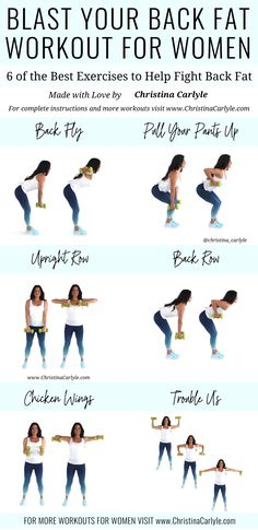 The best back Exercises with dumbbells for women that really work. Together these back exercises make a quick and easy Workout you can do at home or the gym. It's perfect for beginners and busy women that want to get rid of back fat. Good Back Workouts, Back Fat Workout, At Home Workout Plan, Back Workouts With Dumbbells, Back Exercises For Women, Exercise At Home, Back Fat Exercises At Home, Dumbbell Workout At Home, Upper Back Exercises